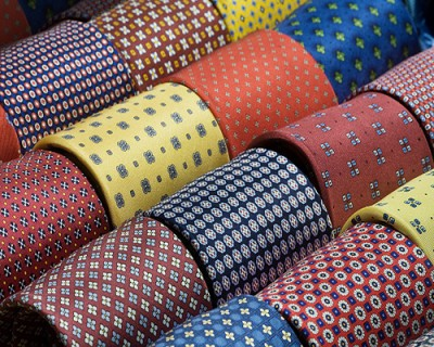 Silk ties rolled in a shop window display