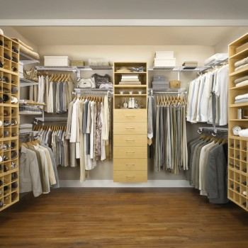 Stylish-Modern-Walk-In-Closet-Design-Idea-In-Light-Brown-With-Shoe-Storage-Drawers-And-White-Gray-Brown-Clothes-Amazing-Modern-Walk-In-Closet-Design-Ideas